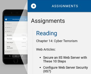 DeVry app screenshot showing the assignments from a course